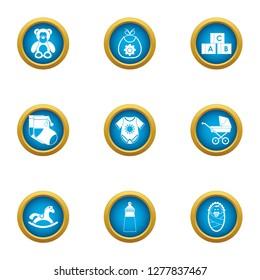 Puerile icons set. Flat set of 9 puerile icons for web isolated on white background