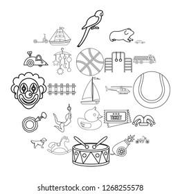 Puerility icons set. Outline set of 25 puerility icons for web isolated on white background