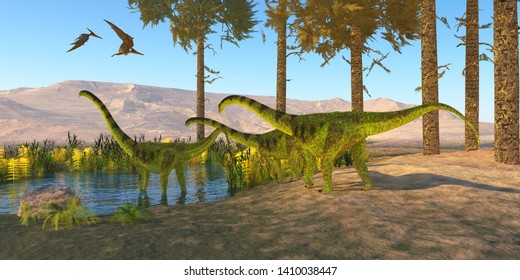 Puertasaurus Dinosaurs 3D illustration - Pteranodon reptiles fly over a herd of Puertasaurus dinosaurs visiting a pond during the Cretaceous Period of Patagonia.