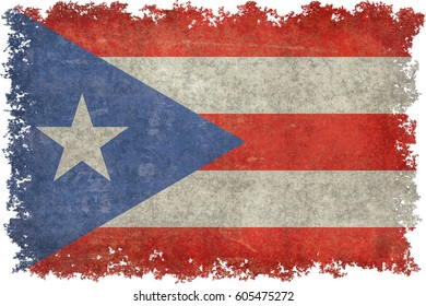 Puerto Rican flag with grungy distressed textures and edges