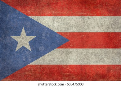 Puerto Rican flag with grungy distressed textures