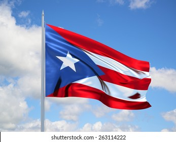 Puerto Rico 3d flag floating in the wind. 3d illustration.
