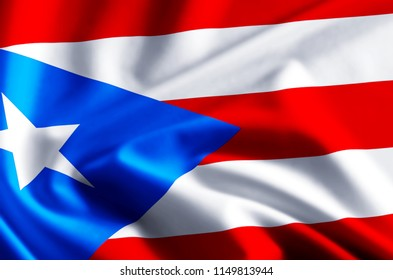 Puerto rico 3D waving and closeup flag illustration with reflections. Usable for background and texture.