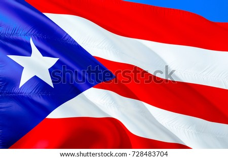 Puerto Rico Flag Colors Of 3D Waving Design Red
