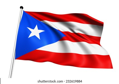 Puerto Rico flag with fabric structure on white background