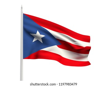 Puerto Rico flag floating in the wind with a White sky background. 3D illustration.