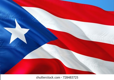 Puerto Rico flag. Flag of Puerto Rico pictures. 3D Waving flag design. Red, white and green flag. The national symbol of Puerto Rico. National colors background wallpaper image pictures