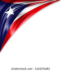 Puerto Rico flag of silk with copyspace for your text or images and white background.
