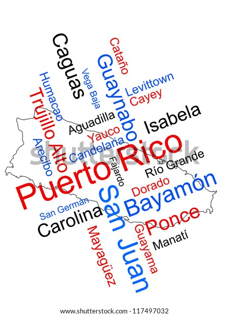 Puerto Rico Map Words Cloud Larger Stock Illustration 117497032