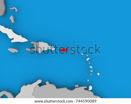 Puerto Rico Red On Political Map Stock Illustration Royalty Free
