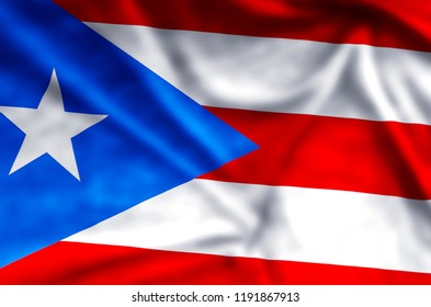 Puerto rico stylish waving and closeup flag illustration. Perfect for background or texture purposes.