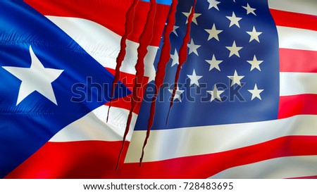 Puerto Rico And USA Flags With Scar Concept Conflict