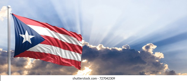 Puerto Rico waving flag on blue sky. 3d illustration