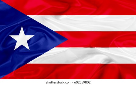 Puerto-Rico flag of silk-3D illustration