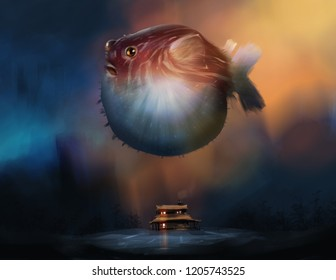 a puffer fish flying above a barn home against mystery woods, digital illustration art painting design style.