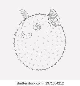 Puffer fish icon line element.  illustration of puffer fish icon line isolated on clean background for your web mobile app logo design.