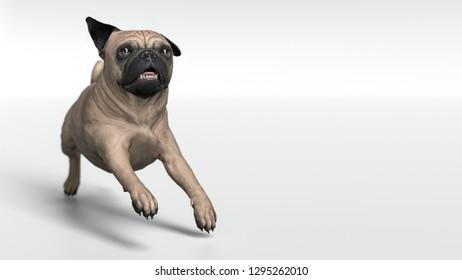 Pug dog running on stage 3d illustration