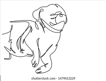 Pug puppy continuous line illustration