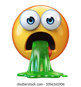 Puking emoji isolated on white background, disgusted or sick emoticon, vomiting emoji 3d rendering