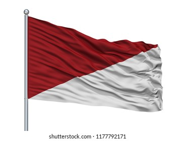 Puli City Flag On Flagpole, Country Colombia, Isolated On White Background, 3D Rendering