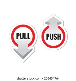 Pull push door sign stickers
