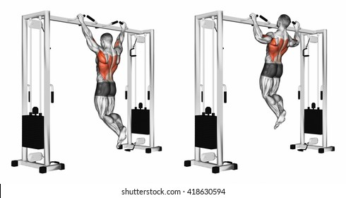 Pulling up wide grip hand on the crossbar undergrip. 3D illustration