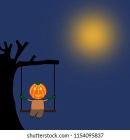 Pumkin cartoon sitting swing under the tree at night.HALLOWEEN PARTY,Cartoon character halloween,background halloween concept.