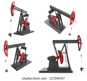 Pump jacks from four different angles isolated on white background