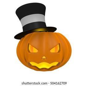 Pumpkin with Black Hat 3D Illustration