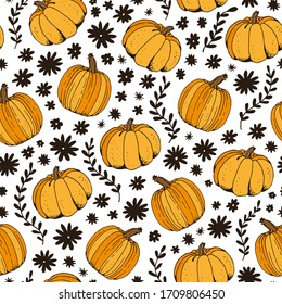 Pumpkin color seamless pattern, hand drawn squash sketch isolated on white background