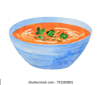 Pumpkin cream soup with green parsley in blue bowl side view watercolor painting. Isolated on white background