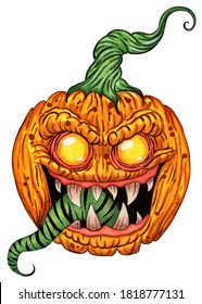 A pumpkin with a demonic gaze, with terrible teeth and a long green tongue. Halloween symbol. Feast of the Dead. Illustration isolated on white background. Hand-drawn. Watercolor.