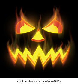 pumpkin devil, fire from hell, face of evil in halloween party horror holidayconcept, ghost with burning, satanic, illustration, trick or theat