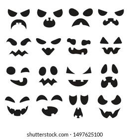 Pumpkin faces. Halloween evil devil face. Scary smile mouth, spooky mean devils nose, jack creepy mouths and pumpkins eyes, lantern goofy black silhouette illustration symbols set