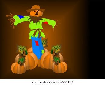 Pumpkin head scarecrow standing guard over several other pumpkins