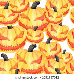 Pumpkin head watercolor seamless pattern. Scary pumpkin halloween pattern.