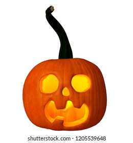 pumpkin jack-o-lantern in a white background will put some fun in yours creations, 3d illustration