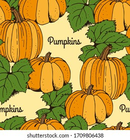 Pumpkin with leafs seamless pattern, hand drawn squash sketch isolated on yellow background