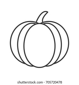 Pumpkin linear icon. Autumn holidays contour symbol. Halloween party decoration thin line illustration. Raster isolated outline drawing