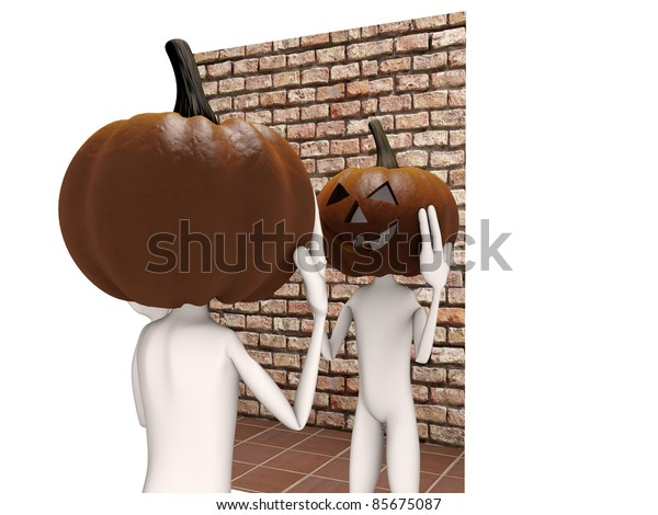 pumpkin man front of the mirror