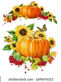 pumpkin mountain ash and sunflowers
