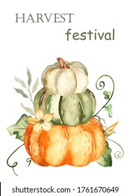 Pumpkins, autumn leaves and flowers. Watercolor harvest festival card