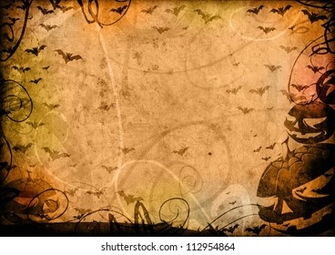 Pumpkins and bats halloween vintage background card