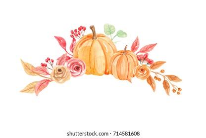 Pumpkins Floral Watercolor Autumn Fall Hand Painted Floral Arrangement