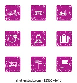 Punctual delivery icons set. Grunge set of 9 punctual delivery icons for web isolated on white background