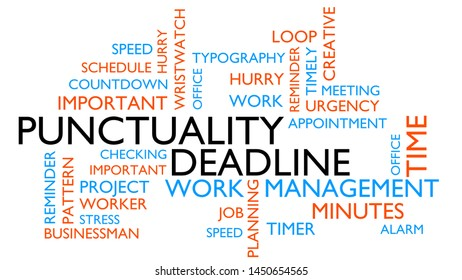 Punctuality word cloud, text design. Kinetic typography, white variant, 3D rendering