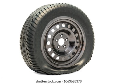 Punctured car wheel, flat tire. 3D rendering isolated on white background