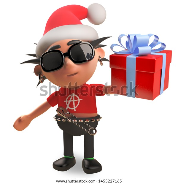 Punk rocker with spikey hair wearing a Christmas Santa hat and holding a gift wrapped present with bow, 3d illustration render