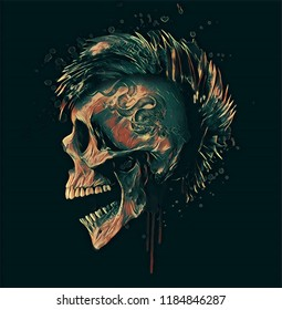 Punk skull art illustration.Rock music themed men t shirt graphic.
