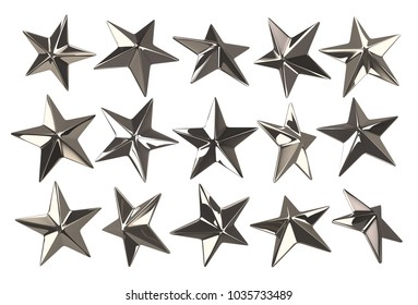Punk star studs. Set of 15 different elements. 3D rendering illustration.